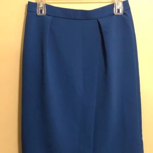 J. Crew Skirt Size2 Blue Pleated Pencil Lined Midi